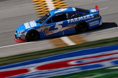 Kasey Kahne, driver of the #5 Farmers Insurance Chevrolet, practices for the NASCAR Sprint Cup Series Geico 400 at Chicagoland Speedway on S...