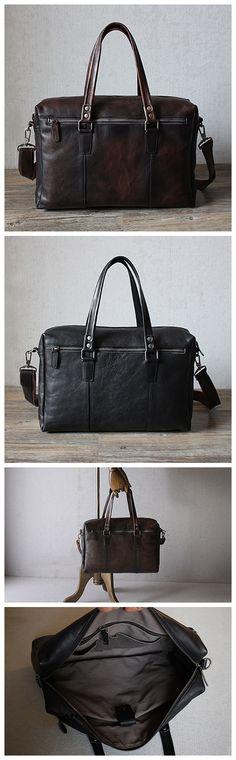 Men's Leather Briefcase, Leather Travel Bag, Shoulder Bag GM010
