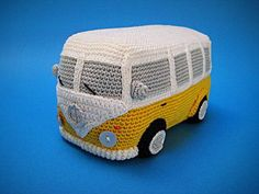 "How about a woolly version of the cutest VW inspired camper van ever ?! This --- PDF CROCHET PATTERN --- describes in US terminology how to crochet an original Volkswagen (inspired) Camper Van / Bus as shown on picture. Finished size will be approx. 7,9"" (20 cm) long, 4.3"" (11 cm) tall,"
