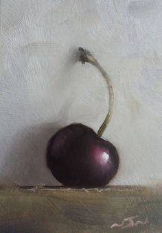 Original Oil Painting - Cherry - Contemporary Miniature Still Life Art - Nelson