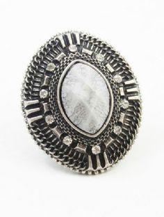 Retro Silver Crystal Ring - Sheinside.com