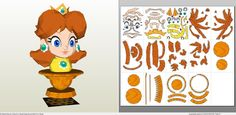 Papercraft .pdo file template for Super Mario - Daisy Bust.