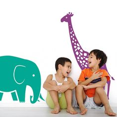 giraffe and elephant safari wall stickers by snuggledust studios | notonthehighstreet.com