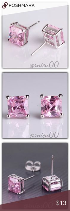 """🆕Pink Topaz 18K White Gold Princess Stud Earrings These Princess Cut Earrings are Definitely a Favorite! Perfect Size 7mm (0.3"""") Square Stones; Very Versatile, wear daily or Simple Classy! (sssp5-2717-0249)  🔆Part of """"Customer Favorite"""" 1X Re-Stock Sale Event! 🔶100% of my Profit is being donated to Multiple Sclerosis (MS) Association - Please see last pic for Manufacturers description - Will ship Securely in Jewelry Box👌  *ALL items Marked at Absolute LOWEST Price unless Bundled! *NO…"""
