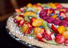 Fruit pizza with sugary cookie crust