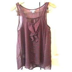 Bar III tank Brown with pink polka dots.  Sheer.  Buttons are for looks only and not functional.  Pair with a pink camisole under, pair of jeans and flats and you have a show stopping casual outfit! Bar III Tops Tank Tops