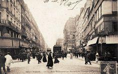 La rue Réaumur au niveau du square du Temple, vers 1905.