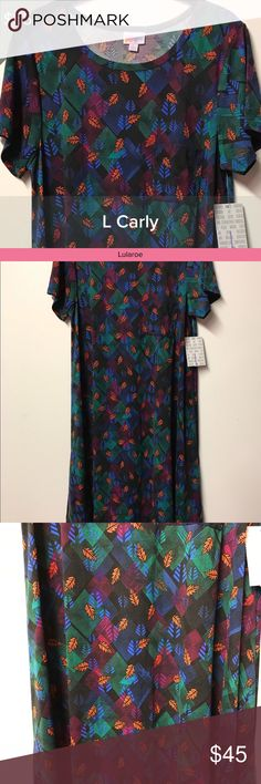NWT Lularoe Carly Dress Blue Green Purple Large *Make Me An Offer* All of my items in both my Closet and Boutique come from a smoke free and pet free environment. Pre-owned items are only owned by one owner which is me. All items listed as EUC mean they have been worn once or twice and laundered by the instructions per each garment. I love to shop and have lots of kids but they can't wear everything before they grow out of it! 😊 Also, any shadows in the pictures are not stains or faded…