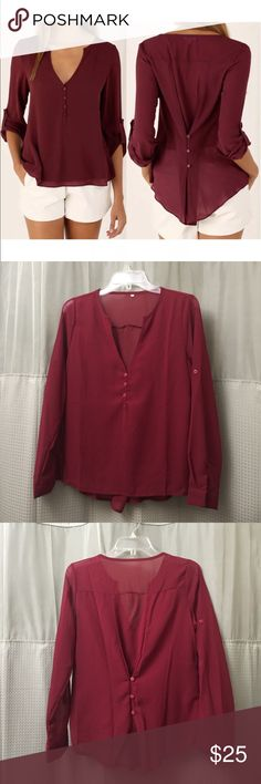 fashion wine top 100% brand new and high quality color: wine  Two ways of wearing: back 3 buttons fastened to slim your waist back 3 buttons unfastened to switch to a much looser style- Leisure and comfy  Elegant and graceful, suitable for everyone  Occasion: Casual, office, conference, etc   Material: Chiffon Tops Blouses