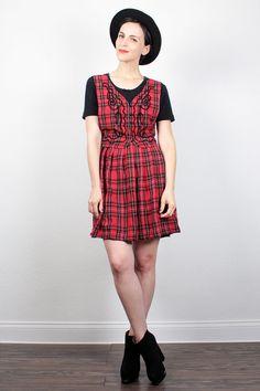 Vintage 90s Dress Soft Grunge Dress Red Black Plaid Babydoll Dress Mini Dress 1990s Dress Schoolgirl Vest Lolita Dress M Medium L Large by ShopTwitchVintage #1990s #90s #plaid #babydoll #mini #dress #soft #grunge #softgrunge #schoolgirl #etsy #vintage