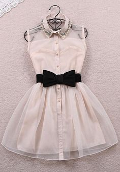 Cute bow belt dress