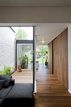 Contemporary Furniture Diy Fun Ideas For 2019 Interior Garden, Home Interior Design, Interior Architecture, Townhouse Designs, Long House, Narrow House, Courtyard House, Patio Design, Modern House Design