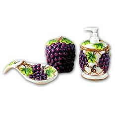 Grape Kitchen Items | Grapes 3d Resin Ceramic Theme Kitchen 4 Pcs Set By  KMC/