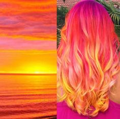 Hair color bright sunset hair Lawn Furniture If you love being outdoors, you should pick lawn furnit Dye My Hair, New Hair, Sunset Hair, Purple Sunset, Sunset Colors, Mermaid Hair, Cool Hair Color, Crazy Hair Colour, Amazing Hair Color