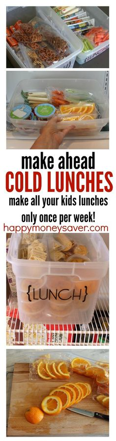 Awesome kids lunch ideas for helping save time. Make all your lunches in one day for the week and have your kids grab their own lunch and pack it easily each morning before school. I have done this method for years and it works! No more cafeteria mystery Cold Lunches, Prepped Lunches, Lunch Snacks, Healthy Kid Lunches, Summer Lunches, Cold Meals, Summer Food, Lunch Box Meals, Healthy Lunch For Toddlers