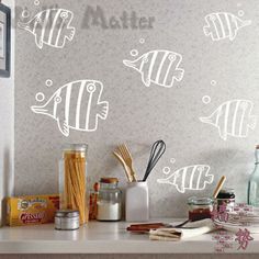 Removable Vinyl Paper art Decal decor Multiple color choices Marine fish animal child real decoration stickers wall stickers-inWall Stickers... WOULD LIKE TO HANG A MIRROR (maybe a full length one, horizontally?) AND CREATE A FAKE AQUARIUM WITH THESE....