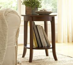 Next to sofa near upholstered chair. Use with Trunk side table. Chloe Side Table #potterybarn