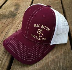 Burgundy/Gold Bad Bitch Cap