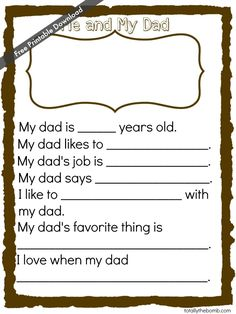 Free Father's Day Printable from Totally the Bomb
