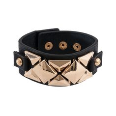 Black faux leather bracelet style features edgy glam pyramid studs. Adjustable snap closure. Stud trim detail: gold-tone metal plate.