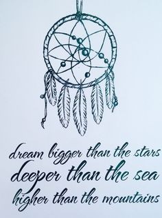 "Adorn your walls with this pretty foil print featuring a dream catcher and the quote ""Dream bigger than the stars, deeper than the sea and higher than the mountains"". Pictured in teal with a white background. $20.00"