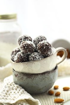 No-Bake Almond Joy Energy Balls - Delicious! I only used about 1 and 1/2 cup of chopped dates and 1 cup of almonds.