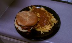 Chili cheese burger and fries....classic