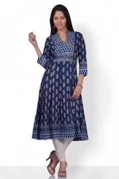 Enigmatic indigo blue anarkali cotton kurta with...