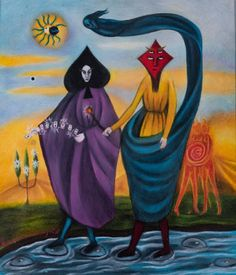 The Cabinet of the Solar Plexus: Leonora Carrington (1917 - 2011) ...The Magicians, coloured pencil drawing, unknown date