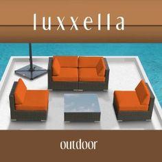 Genuine Luxxella Outdoor Patio Furniture Wicker Contemporary Sofa Sectional BELLA 5pc Set ORANGE