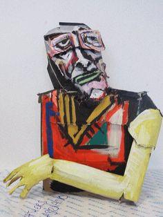 Cardboard head sculpture, by David Whelan