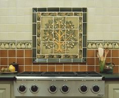I like the concept of a tile backs plash and mural over the range top.