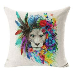 High Quality Cotton Linen Elephant Wolf Lion & Native American Cushion Covers