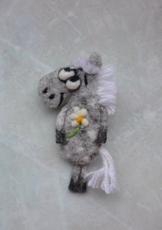 Felted Grey Horse Brooch handmade present felt accessories Needle felted brooch Wool felt brooch by voilokhouse on Etsy