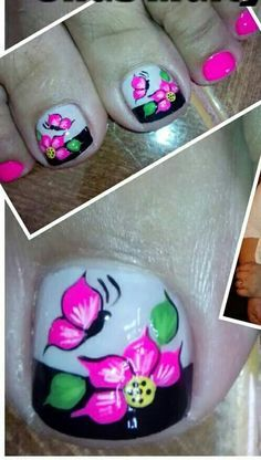 uñas pies jessy nails - Yahoo Image Search Results Pedicure Nail Art, Pedicure Designs, Toe Nail Art, Pretty Toes, Pretty Nails, Hair And Nails, My Nails, Cute Toe Nails, Toe Nail Designs
