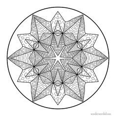 Stars Mandala Colouring Pages 4  Free Printable mandala coloring sheets with intricate star designs, sutiable for adult coloring pages, Kostenlose Mandala Ausmalbilder mit Sternen