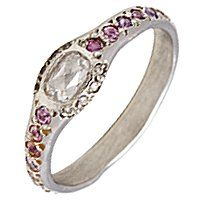 Elisa Solomon Ballerina ring in platinum with 0.17 ct. t.w. rose-cut white and colorless diamonds and pink and purple sapphires, $2,400, elisasolomon.com