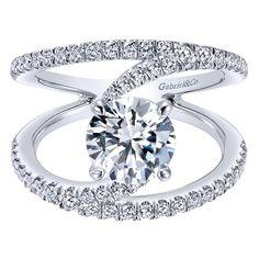 14k White Gold Diamond Split Shank Engagement Ring   Gabriel & Co NY   ER12416R4W44JJ