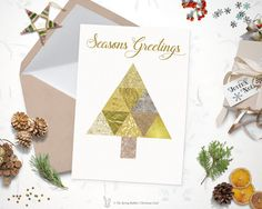 Printable Gold Foil Christmas Tree Holiday Card - Christmas  Card - 5 x7 - Do it yourself Printable Christmas Card - DIY Holiday by TheSpringRabbit on Etsy