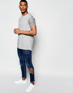 Image 4 of ASOS Super Longline Stripe T-Shirt With Curved Hem And Fabric  Interest