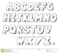 D Block Letter Font Sketch Coloring Page  Drawing