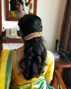 Fancy hair jewellery - New Site Bridal Hairstyle Indian Wedding, South Indian Bride Hairstyle, Bridal Hair Buns, Bridal Hairdo, Hairdo Wedding, Indian Bridal Hairstyles, Braided Hairstyles For Wedding, Braided Updo, French Braid Hairstyles
