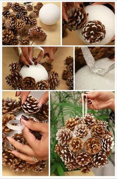 DIY Pinecone Poms for Winter Weddings. A budget-friendly way to create a chic winter look all your own wiht this pom balls with pine cones for your winter occasion. Handmade Christmas Crafts, Christmas Projects, Holiday Crafts, Christmas Holidays, Christmas Ideas, Holiday Decor, Natural Christmas, Country Christmas, Pine Cone Decorations