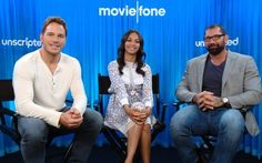 Moviefone's Guardians of the Galaxy Unscripted starring Chris Pratt, Zoe Saldana and Dave Bautista