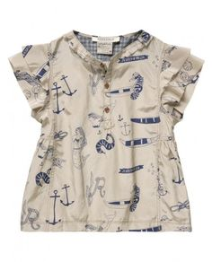 blouse anchor boat mermaid ruffles
