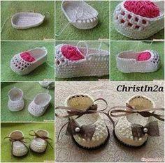 Paso a paso en fotos para estos bonitos zapatos tejidos al crochet. Es un tutorial breve, como todo...