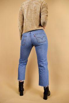 Vintage Levis 501 Jeans, Cut-Off Blue Wash Levis Jeans, Levis 32