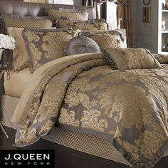 Melbourne Damask forter Bedding by J Queen New York from Damask Bed SheetsDamask Bed Sheets - Well, although this may n Taupe Bedding Sets, Taupe Bedding, Bed Linens Luxury, Luxury Bedding Master Bedroom, Bedroom Decor, Bed, Damask Bedding, Farmhouse Bedding, Luxury Comforter Sets