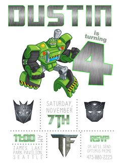 Transformers Birthday Invitation Transformers by TwistedSisterShop