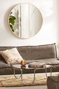 Umbra Oversized Hub Mirror--what the shit i totally have a mirror just like this from ikea that idk where to hang or how to hang just in storage Mirror Over Couch, Above Couch, Mirrors Urban Outfitters, Urban Outfitters Home, Small Space Living, Small Spaces, Living Spaces, Living Area, Tiny Apartments